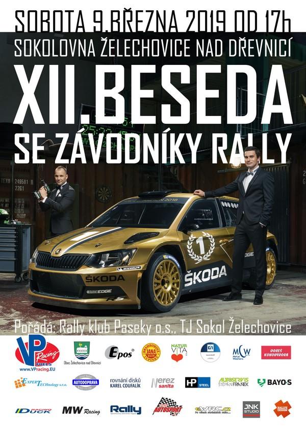 Beseda se závodníky rally 2019 plakát