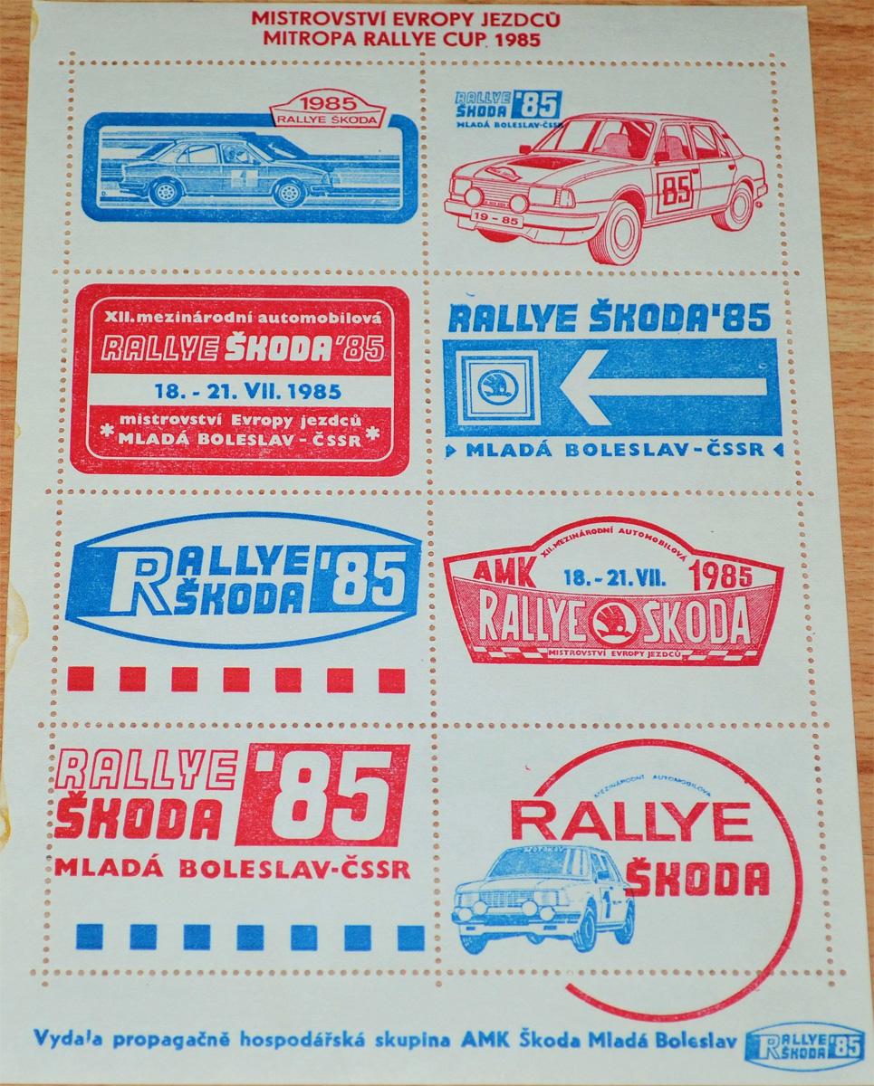 Rallye Škoda 1985 - propagace Škoda