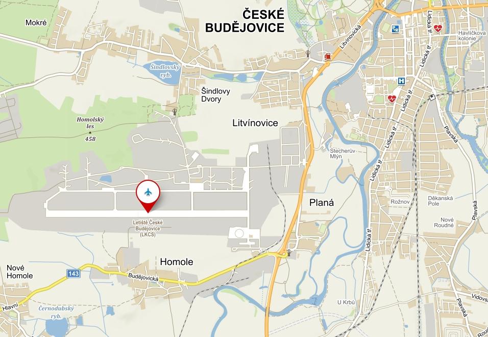 Mapa letiště České Budějovice