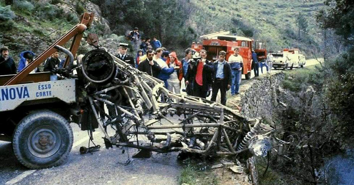 Ohořelé torzo vozu Lancia Delta S4